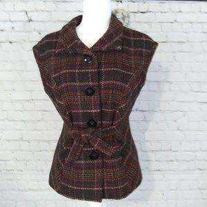 CAbi plaid wool blend sleeveless jacket